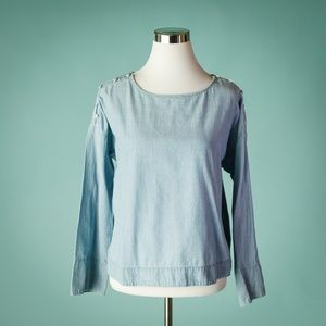 Madewell M Light Chambray Button Shoulder Top